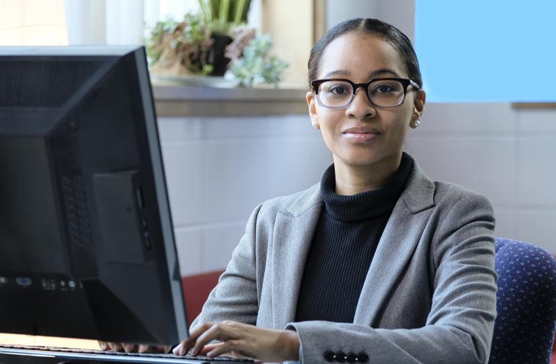 Young Woman at a Computer